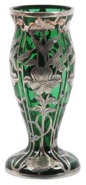 Sterling Silver Overlaid Green Glass Vase