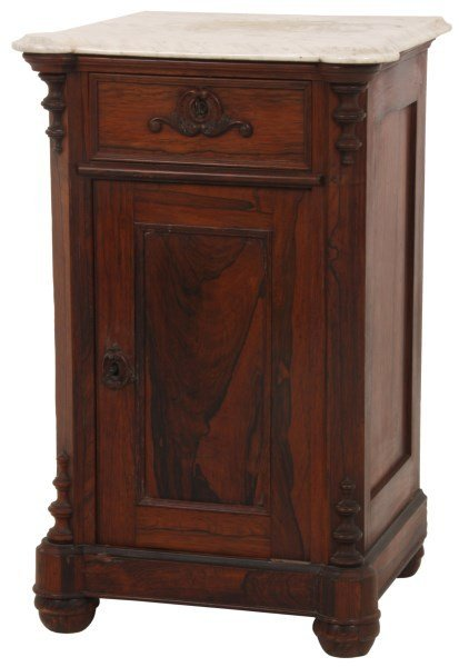 Carved Rosewood Marble Top Half Commode