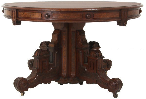 48 in. Carved Walnut Dining Table