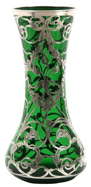 La Pierre Sterling Overlay Green Glass Vase