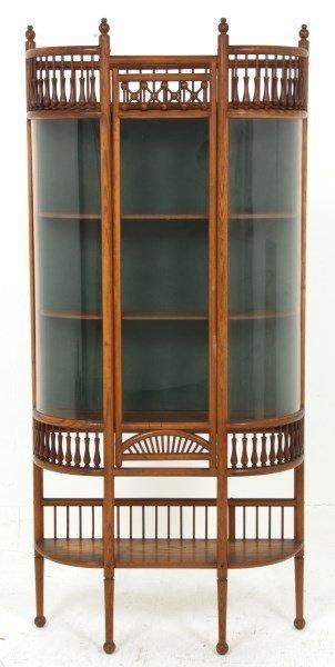 Oak Stick & Ball 1 Door Curio Cabinet