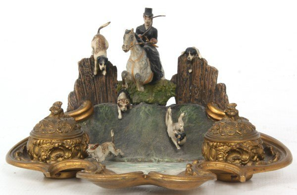 Austrian Cold Painted Bronze Inkwell