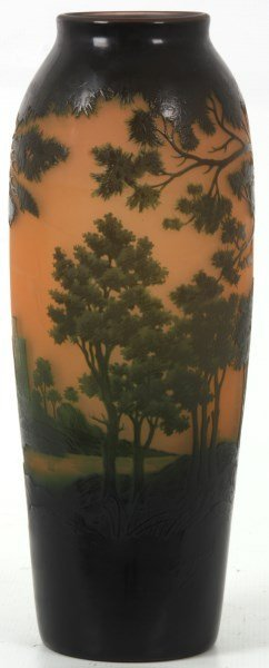 D'argental Cameo Glass Scenic Vase