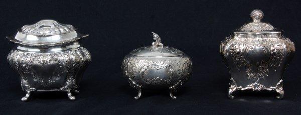 3 Pcs. Continental Silver Tea Caddies