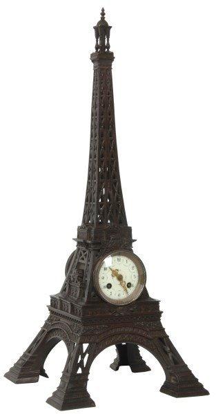 French Figural Bronze Eiffel Tower Clock