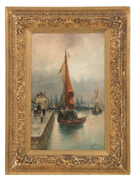 Signed Leo Vsetecka O/C Venetian Harbor Scene