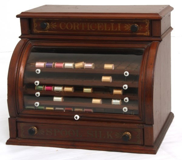 Corticelli Walnut Roll Top Spool Cabinet