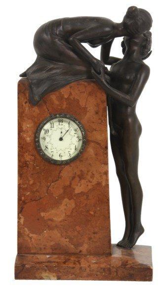 Carl Kauba Marble & Bronze Clock