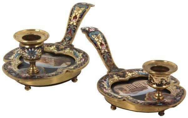 Pr. Gilt Brass & Champleve Chamber Sticks
