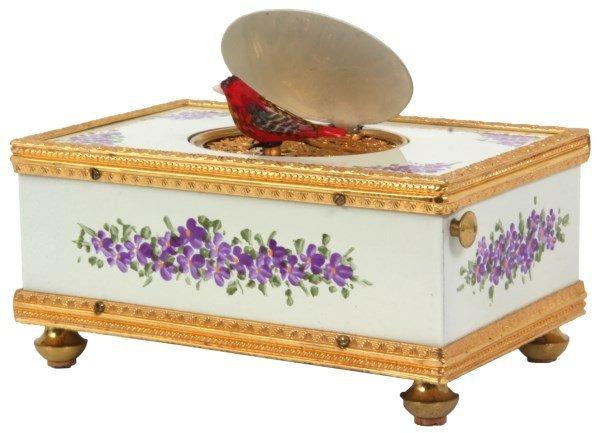 German Enamel Animated Singing Bird Box