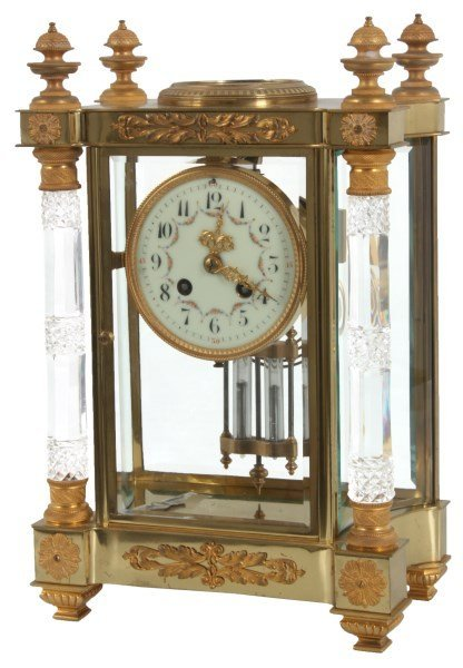 French Brass Cut Glass Crystal Regulator