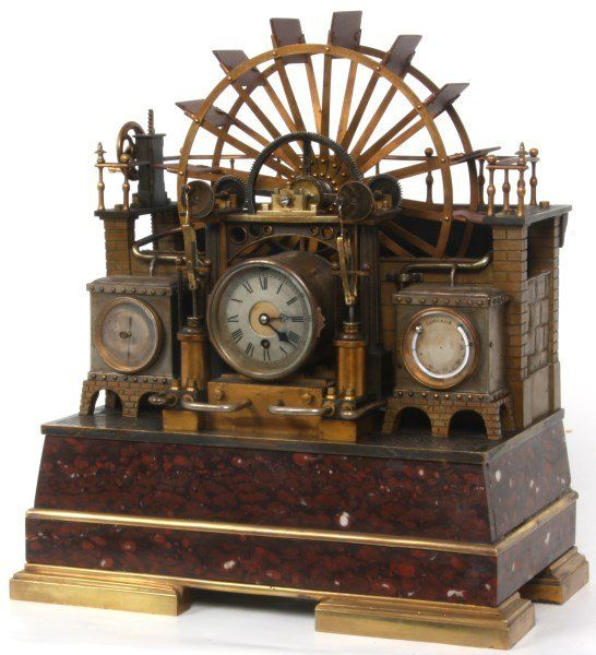French Industrial Water Wheel Clock