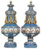 Pr. French Porcelain Portrait Urns