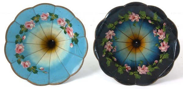 2 Painted Morning Glory Phonograph Horns - 2