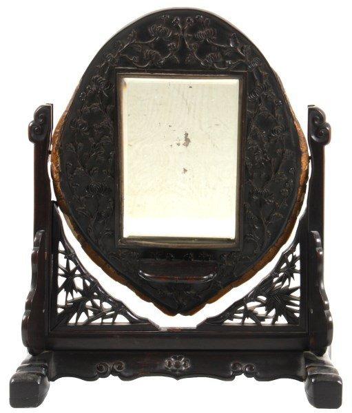 Teak Carved & Tortoise Shell Vanity Mirror