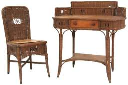 Haywood & Wakefield Kidney Desk & Chair