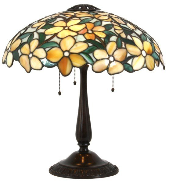 17.5 in. Suess Leaded Floral Table Lamp