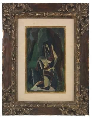 Max Weber Gouache Painting – Kneeling Figure