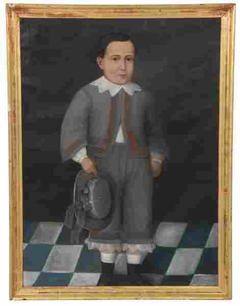 20th Century O/C Folk Portrait Painting