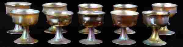 10 Tiffany Gold Iridescent Sherbert Cups