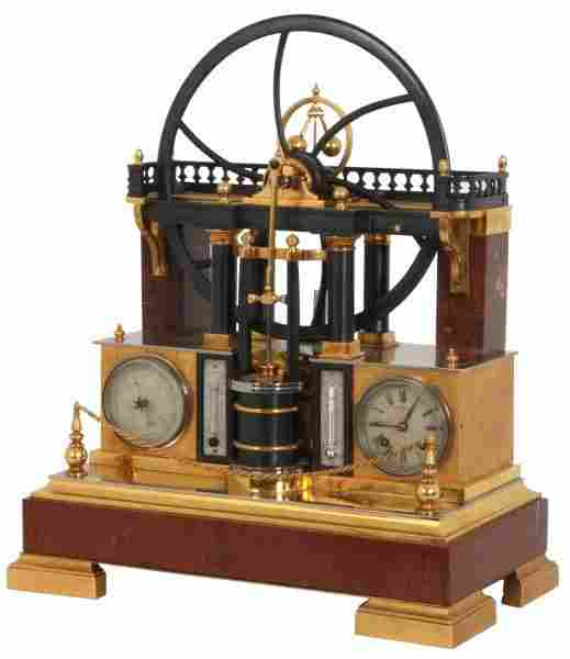 French Industrial Animated Steam Engine Clock