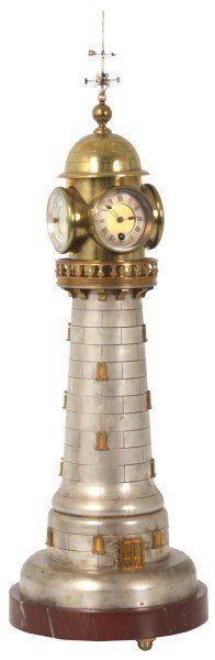 French Industrial Animated Lighthouse Clock