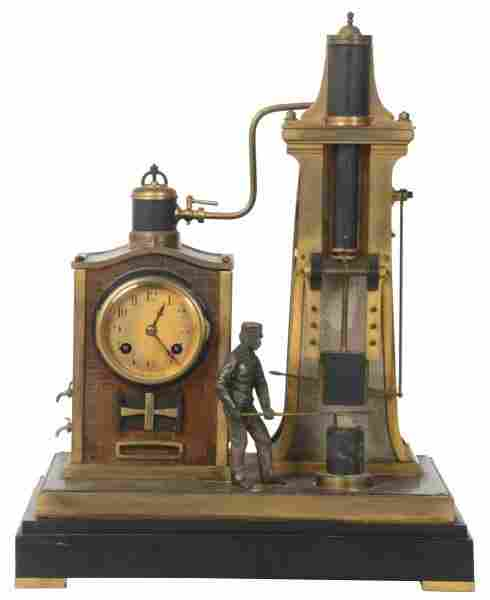 French Industrial Foundry Man Mantle Clock