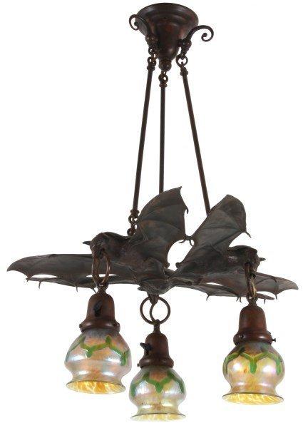 Light Austrian Bronze Hanging Bat Lamp