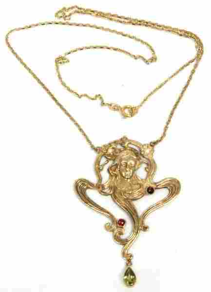14K Gold Art Nouveau Necklace of Woman