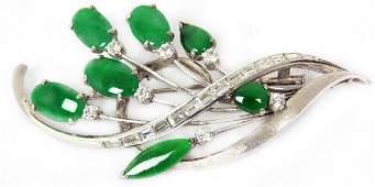 14K Gold Pin w Diamonds  Emeralds