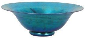 Lg. Steuben Aurene Electric Blue Iridescent Bowl