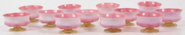 12 Tiffany Favrile Pink Pastel Footed Bowls