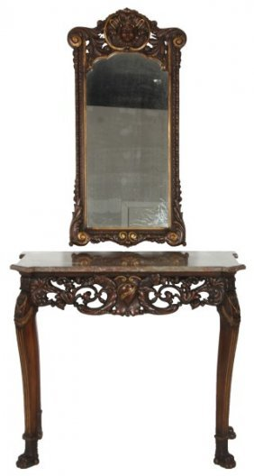 Pierced Carved Walnut Marble Top Hall Table