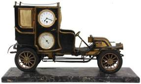 French Industrial Animated Automobile Clock