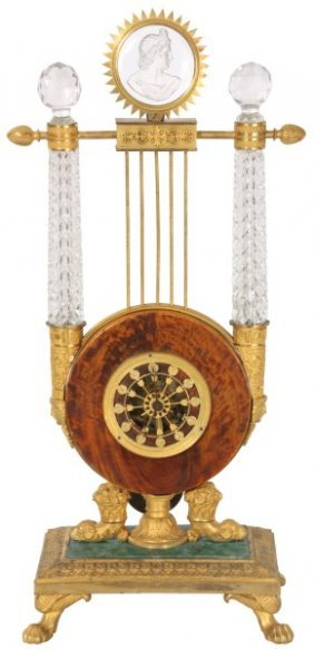 French Silk Thread Lyre Clock