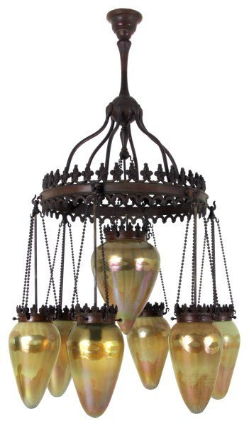 Exceptional Tiffany Bronze & Artglass Chandelier