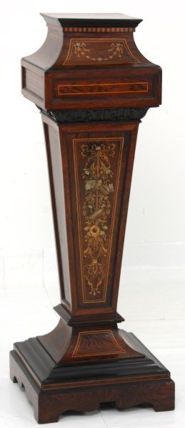 Inlaid Rosewood Renaissance Revival Pedestal