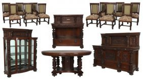 16 Pc. Attr. R. J. Horner Oak Dining Set