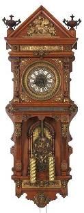Ansonia Oak Wall Clock - Antique Hanging