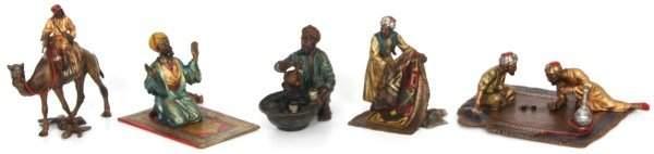 5 Pcs Cold Painted Bronze Arab Figures