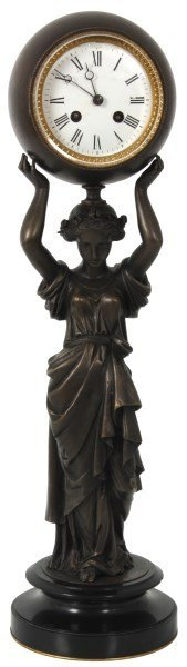 Japy Freres Figural Bronze Mantle Clock