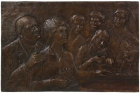 Signed Ravera Bass Relief Bronze Plaque