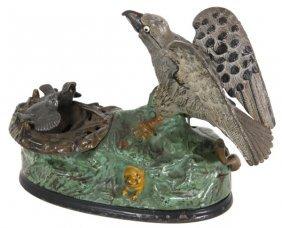 Mechanical Cast Iron Eagle & Eaglets Bank