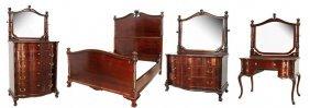 4 Pc. Carved Mahogany Bedroom Set