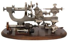 Watchmakers Lathe On Walnut Stand