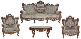 4 Pc. Walnut Rococo Style Parlor Set