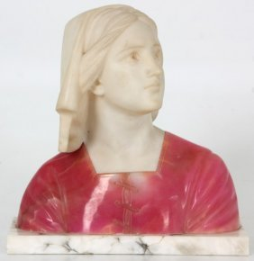 Carved Alabaster Bust – Joan Of Arc