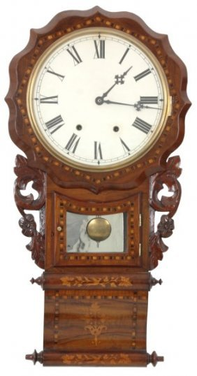Inlaid Ansonia English Drop Wall Clock