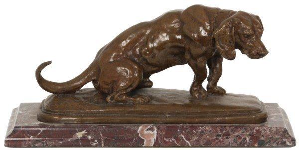 Signed Barye Bronze Dog Sculpture