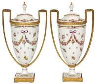 Pr Bronze Mounted Limoges Porcelain Urns